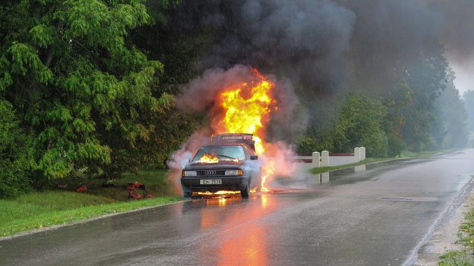 Car Accident Fire Street Accident
