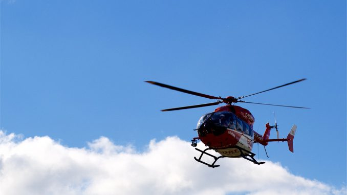 Helicopter Sky Flying Blue Clouds